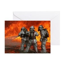 3 Firefighters fighting a fire Greeting Card