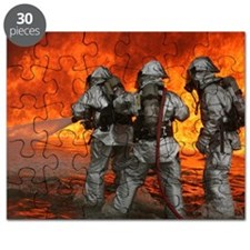 3 Firefighters fighting a fire Puzzle