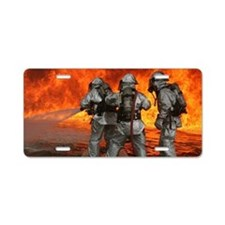 3 Firefighters fighting a f Aluminum License Plate