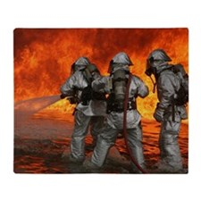 3 Firefighters fighting a fire Throw Blanket