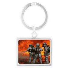 3 Firefighters fighting a fire Landscape Keychain