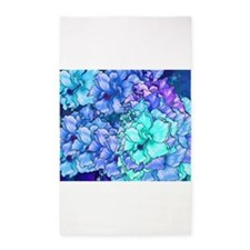 Blue Flowers 3'x5' Area Rug