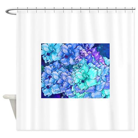 Blue Flowers Shower Curtain By Urbanera