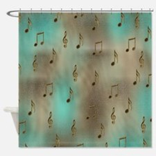 Golden Musical Notes Shower Curtain