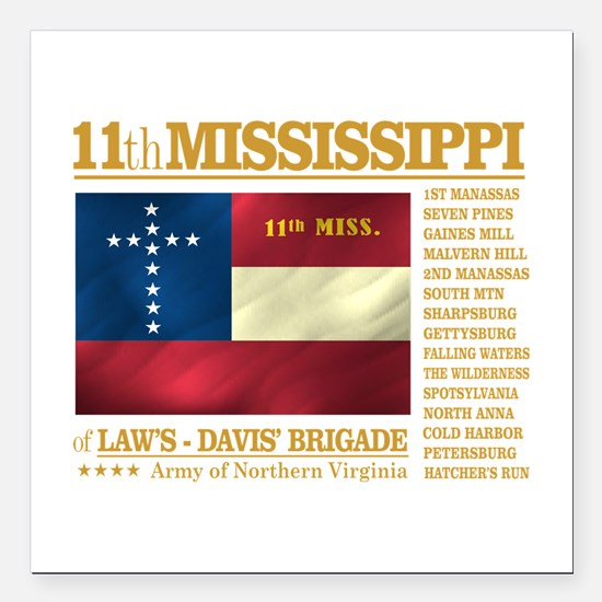 11th Mississippi Infantry (BH2) Square Car Magnet