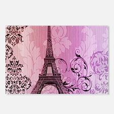 purple damask modern paris eiffel tower Postcards