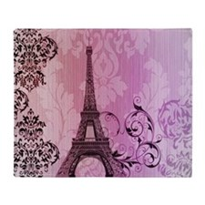 purple damask modern paris eiffel tower Throw Blan