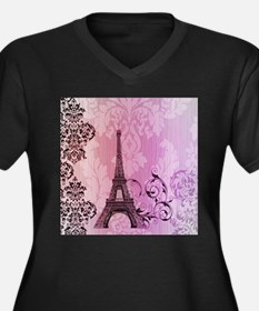 purple damask modern paris eiffel tower Plus Size
