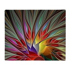 Fractal Bird of Paradise Wide Throw Blanket