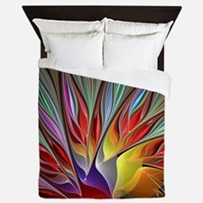Fractal Bird of Paradise Wide Queen Duvet