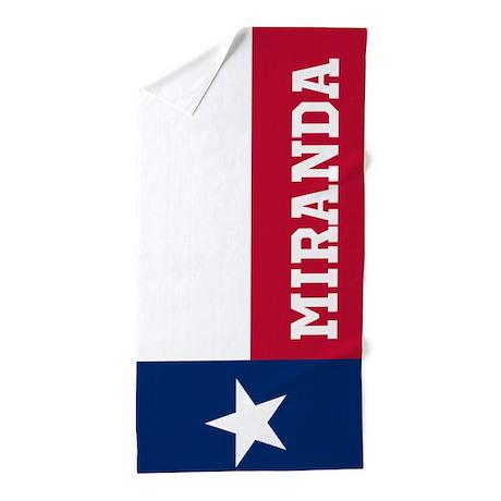 Monogram Flag of Texas Beach Towel