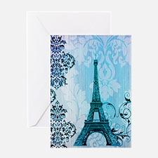 blue damask modern paris eiffel tower Greeting Car