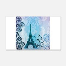 blue damask modern paris eiffel tower Car Magnet 2