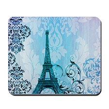 blue damask modern paris eiffel tower Mousepad