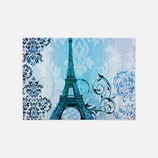 blue damask modern paris eiffel tower 5'x7'Area Ru