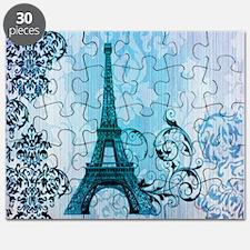 blue damask modern paris eiffel tower Puzzle
