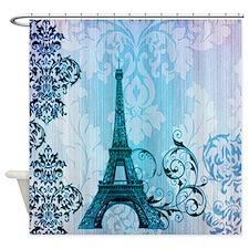 blue damask modern paris eiffel tower Shower Curta