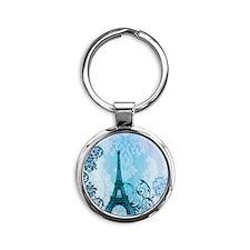 blue damask modern paris eiffel tower Keychains
