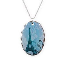 blue damask modern paris eiffel tower Necklace