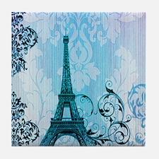 blue damask modern paris eiffel tower Tile Coaster