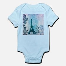 blue damask modern paris eiffel tower Body Suit