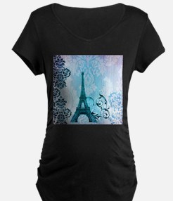 blue damask modern paris eiffel tower Maternity T-