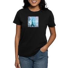 blue damask modern paris eiffel tower T-Shirt