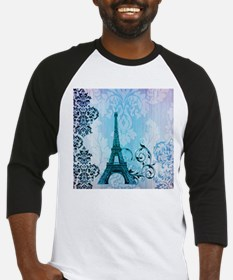 blue damask modern paris eiffel tower Baseball Jer