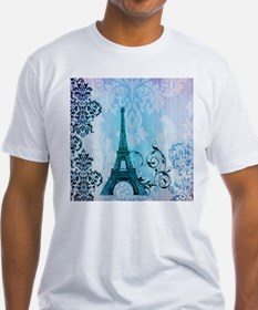 blue damask modern paris eiffel tower T-Shirt