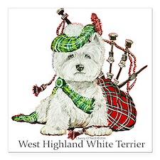 "Highland Westie Square Car Magnet 3"" x 3"""