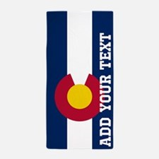 Monogram Customized Flag of Colorado Beach Towel