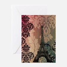 vintage damask modern paris eiffel tower Greeting