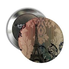 "vintage damask modern paris eiffel tower 2.25"" But"