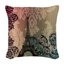 vintage damask modern paris eiffel tower Woven Thr