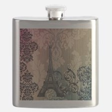 vintage damask modern paris eiffel tower Flask