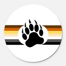 Gay Bear Pride Stripes Bear Paw Round Car Magnet