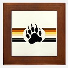 Gay Bear Pride Stripes Bear Paw Framed Tile