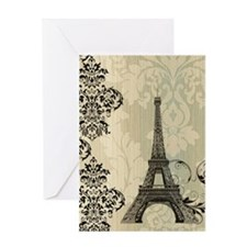 cream damask modern paris eiffel tower Greeting Ca