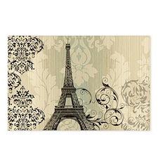 cream damask modern paris eiffel tower Postcards (
