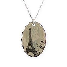 cream damask modern paris eiffel tower Necklace