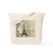 cream damask modern paris eiffel tower Tote Bag