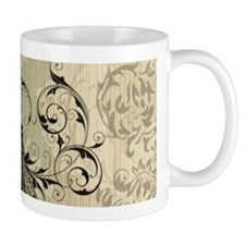 cream damask modern paris eiffel tower Mugs