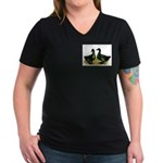 Cayuga Ducks Women's V-Neck Dark T-Shirt
