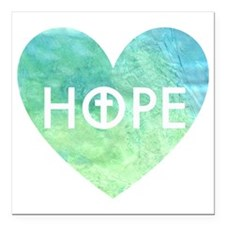 "Hope in Jesus Heart Square Car Magnet 3"" x 3"""