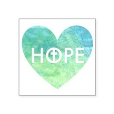 "Hope in Jesus Heart Square Sticker 3"" x 3"""