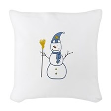 Snowman With A Broom Woven Throw Pillow