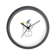 Snowman With A Broom Wall Clock