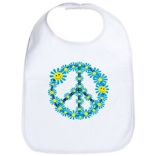 Smiley face flower peace sign Bib