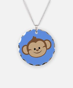 Cute Monkey on Blue Necklace