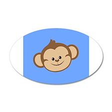 Cute Monkey on Blue Wall Decal